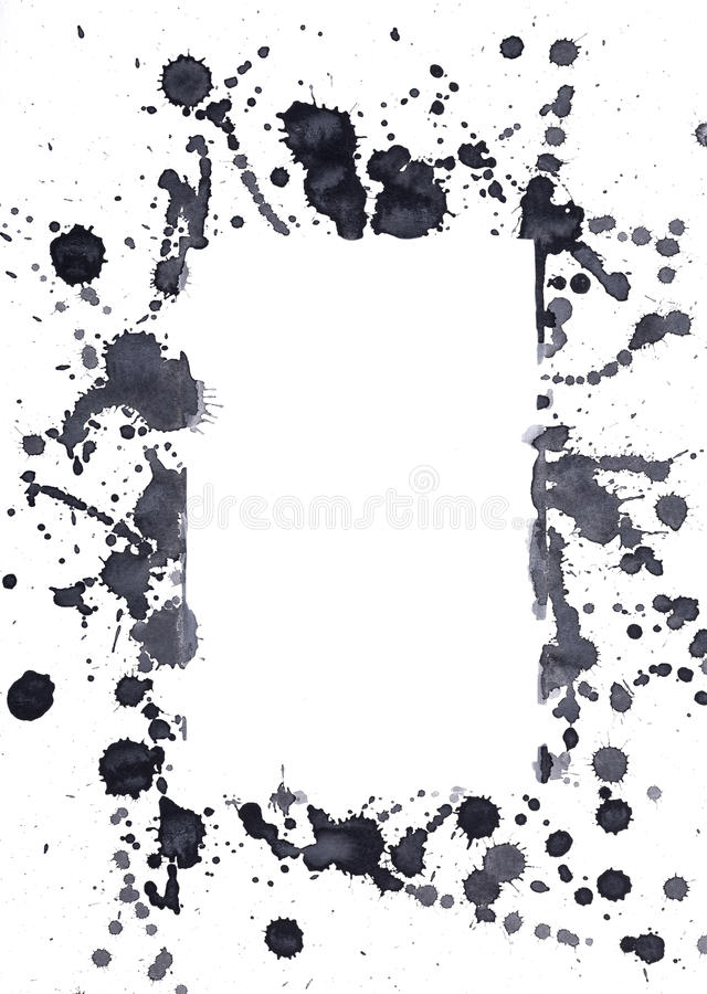 Black ink spots. That form the shape of a rectancle stock photos