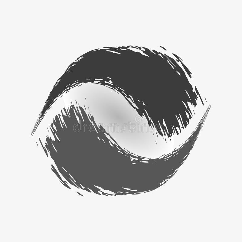 Black ink, watercolor brush strokes in form of circle on white background. Vector illustration in form of circle, ball, yin yang. stock illustration