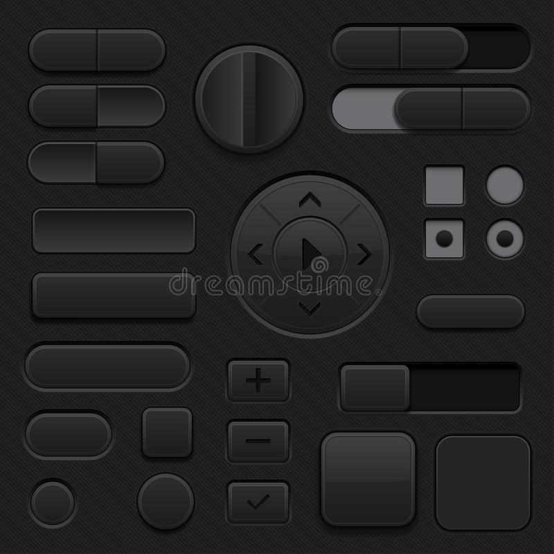 Black interface buttons. 3d set of UI icons stock illustration