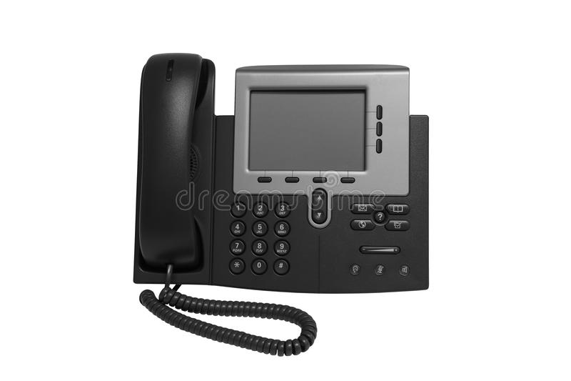 Black IP Telephone. With monitor replesentative of IP phone technology stock photography
