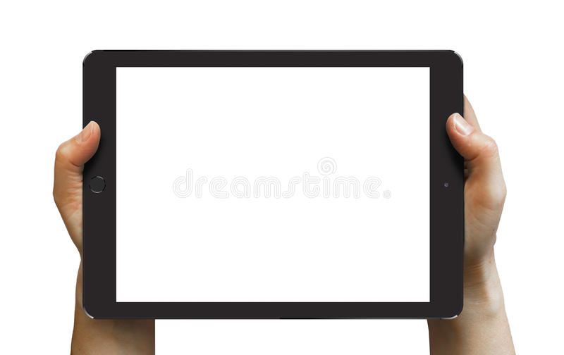 Black iPad Air 2 in woman's hands. Black iPad Air 2 in woman's hands isolated on white in horizontal mode royalty free stock image