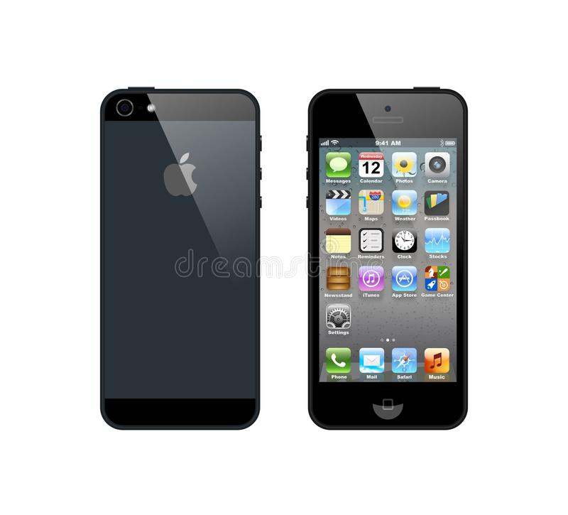 Black iPhone 5 vector illustration