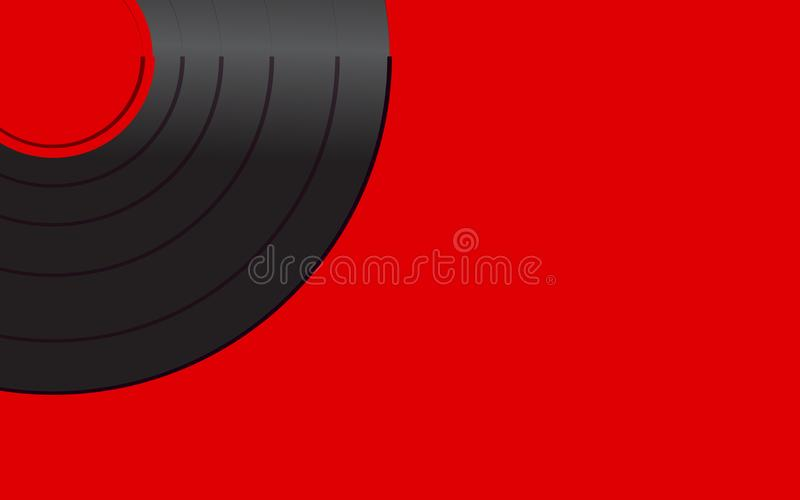 Black iridescent vinyl musical analogue retro old antique hipster vintage gramophone record with a red center for a gramophone on vector illustration