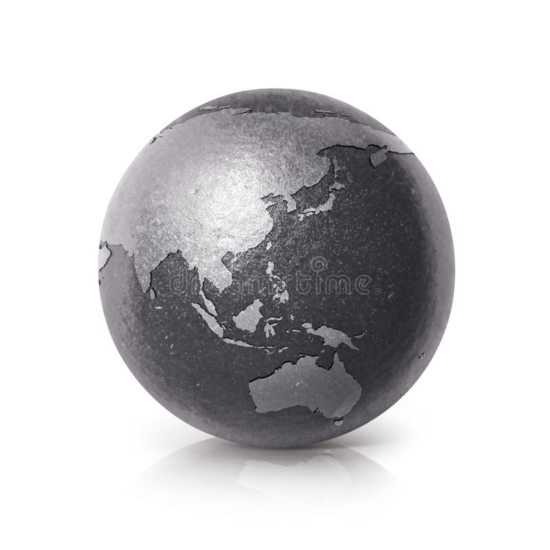 Black iron Asia & Australia world map 3D illustration stock illustration
