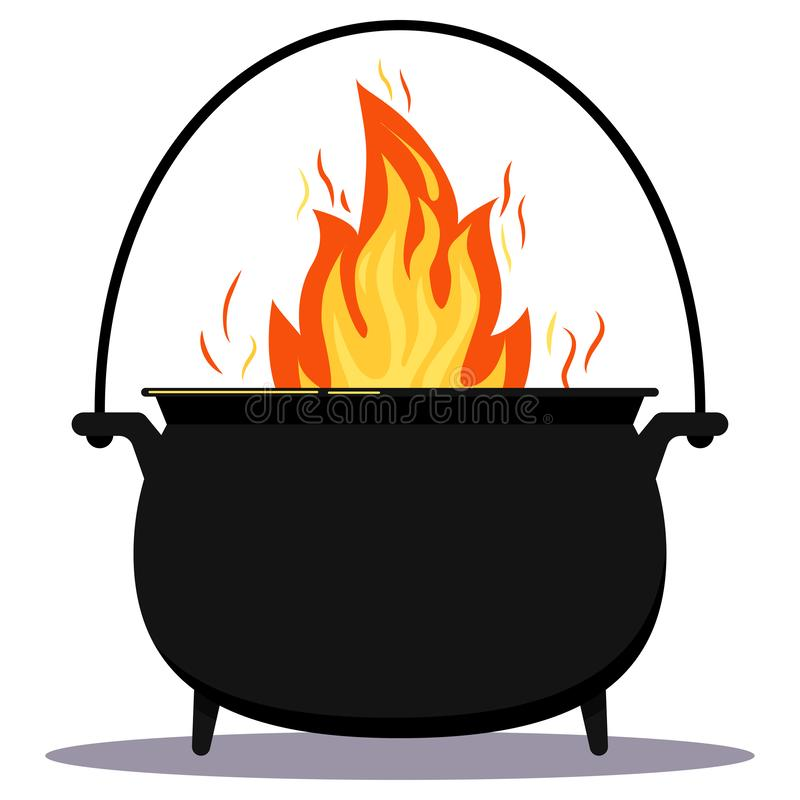 Black iron empty cooking pot with fire flat design cartoon vector illustration. symbol of Halloween holiday. royalty free illustration