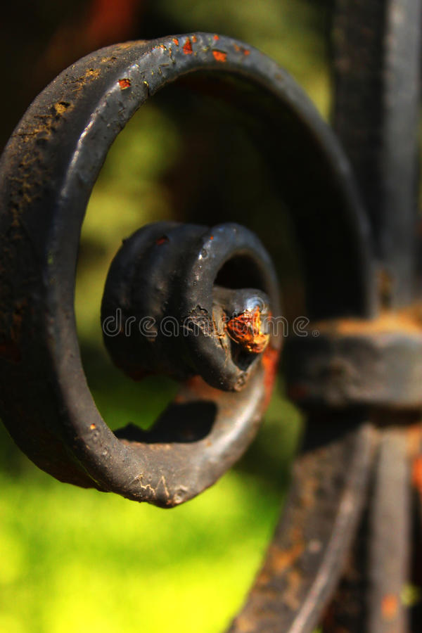 Black iron fence detail stock photography