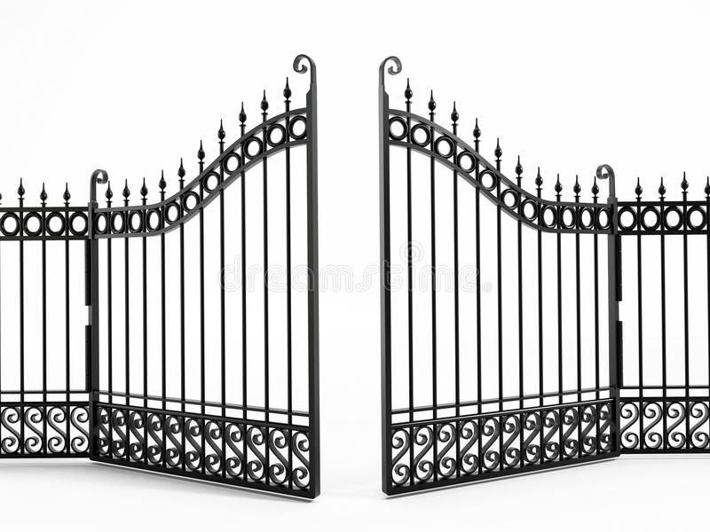 Black iron gate stock illustration