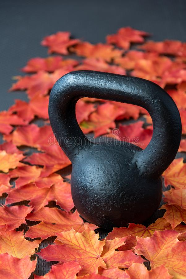 Black iron kettlebell on a black rubber gym floor, with orange and yellow maple leaves, fall fitness royalty free stock photos