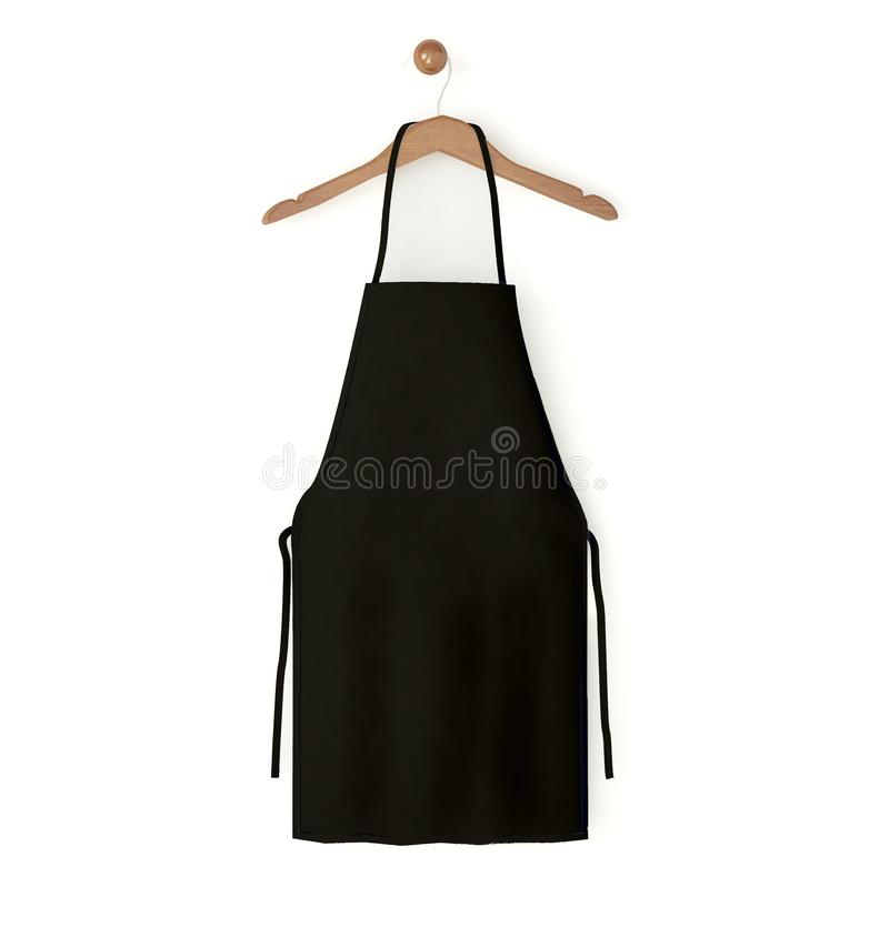 Black isolated apron. 3d rendering vector illustration