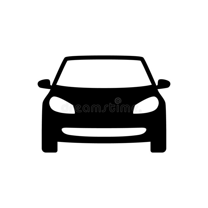 Black isolated automobile silhouette icon. Car vector symbol. Black isolated automobile silhouette icon. Car silhouette vector symbol. Car vector black sign royalty free illustration