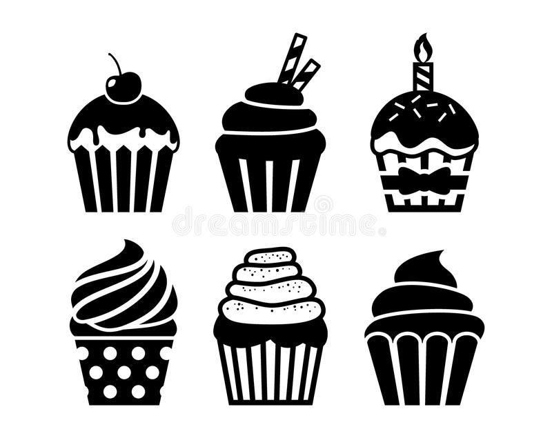 Black isolated cupcakes icons set. Cupcakes with cream, birthday candle, cherry and sprinkles. stock illustration
