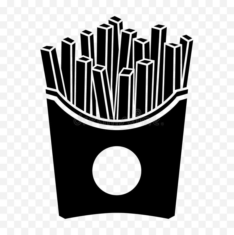 Black isolated french fries icon. French fries in a paper box. royalty free illustration