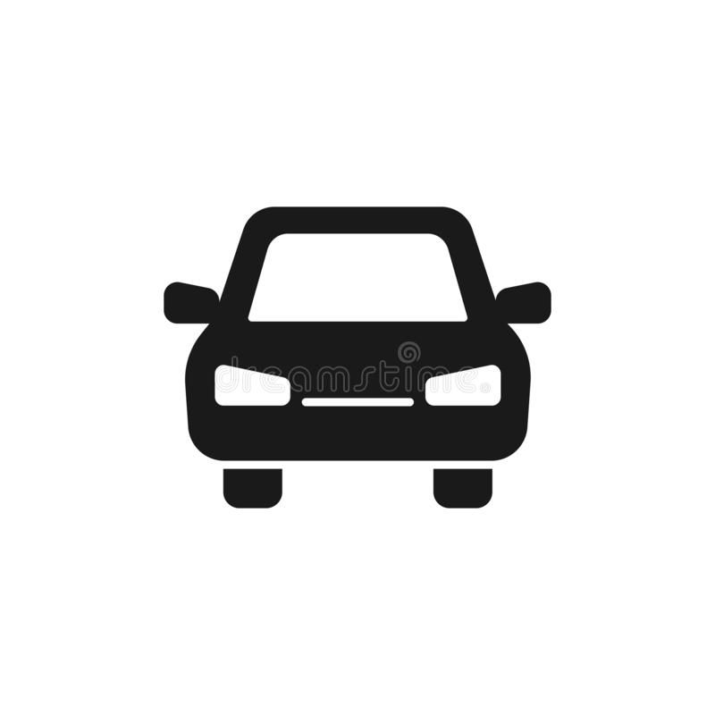 Black isolated icon of car on white background. Silhouette of automobile, Flat design. Front view stock illustration