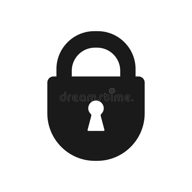 Black isolated icon of closed lock on white background. Silhouette of closed padlock. Flat design. stock illustration