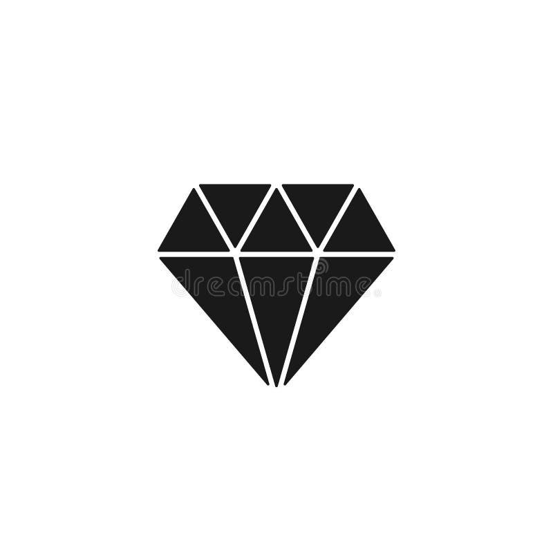 Black isolated icon of diamond on white background. Silhouette of brilliant. Flat design. royalty free illustration