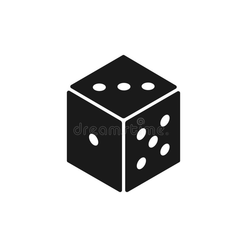 Black isolated icon of die on white background. Silhouette Icon of dice.  vector illustration