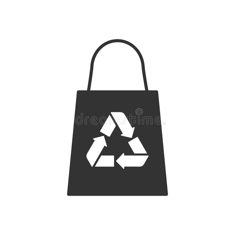 Black isolated icon of eco bag on white background. Silhouette of recycle shopping bag. stock illustration