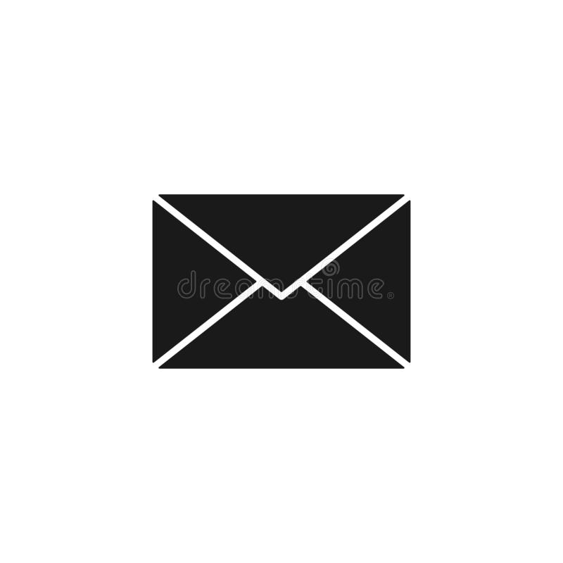 Black isolated icon of envelope on white background. Silhouette of postal envelope. Mail, email. Flat design. royalty free illustration