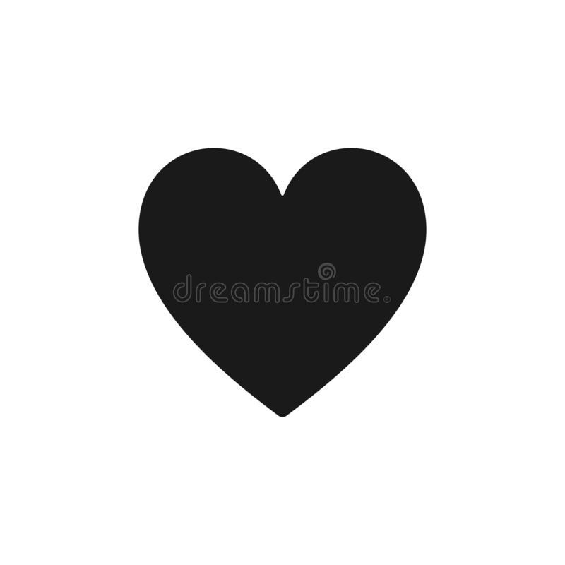 Black isolated icon of heart on white background. Silhouette of heart shape. Flat design. vector illustration