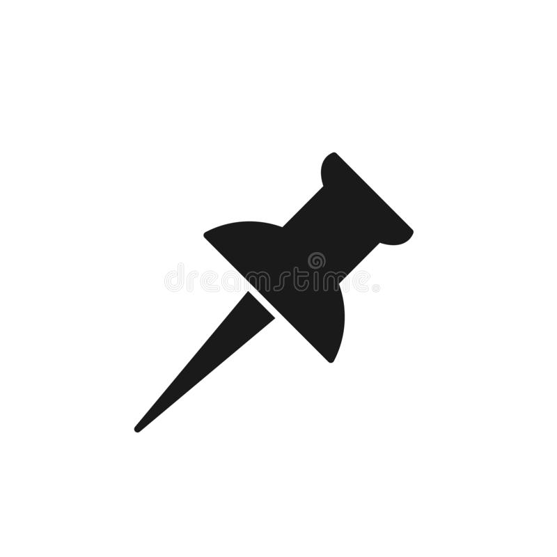 Black isolated icon of thumbtack on white background. Silhouette of thumbtack.  royalty free illustration
