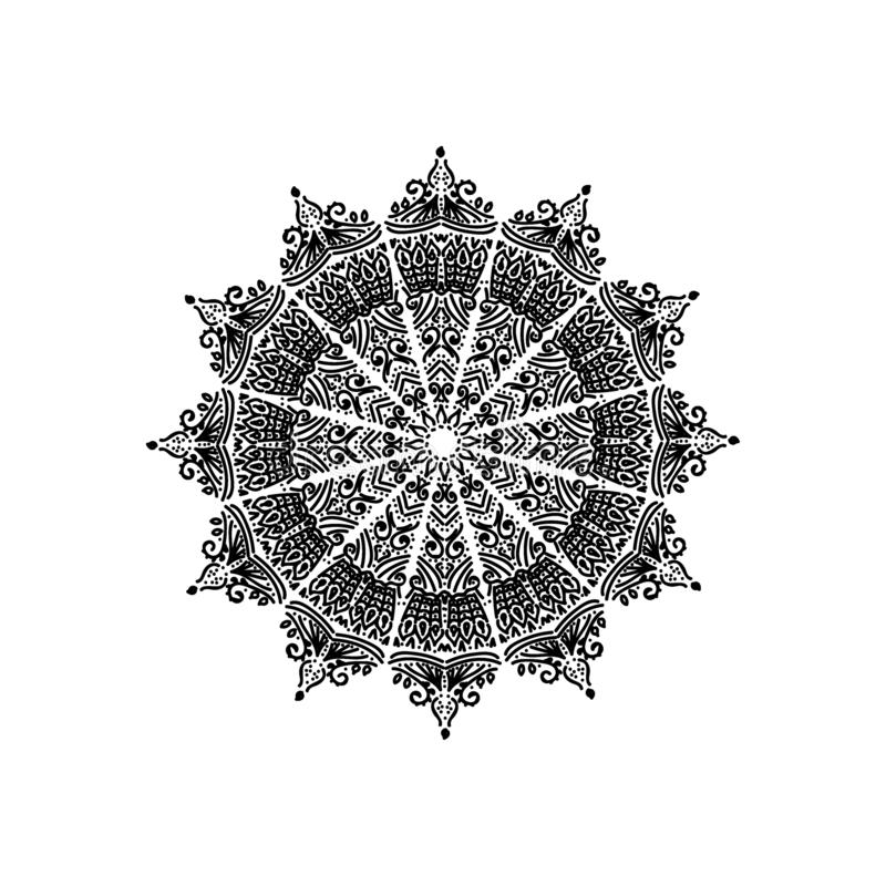 Black mandala on white background royalty free illustration