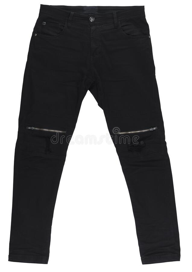 Free Black Isolated On A White Background. Men`s Jeans Are Isolated. Close-up Of Trendy Stylish Men`s Black Jeans Pants With A Zipper O Stock Photos - 185892653