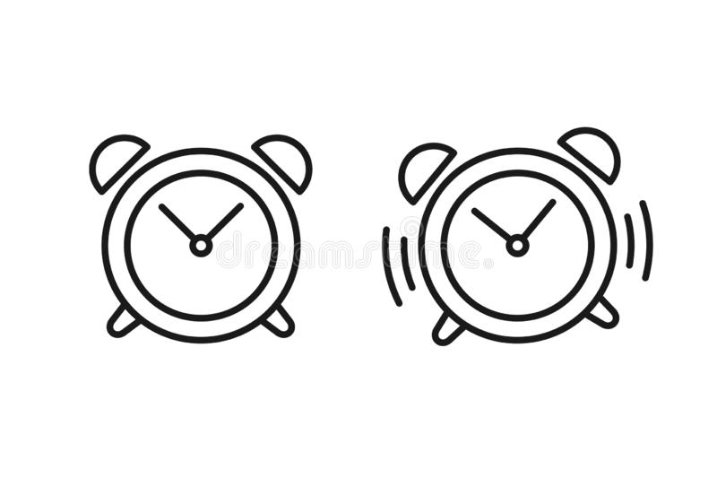 Black isolated outline icon of alarm clock and ringing alarm clock on white background. Set of line Icons of alarm clock stock illustration