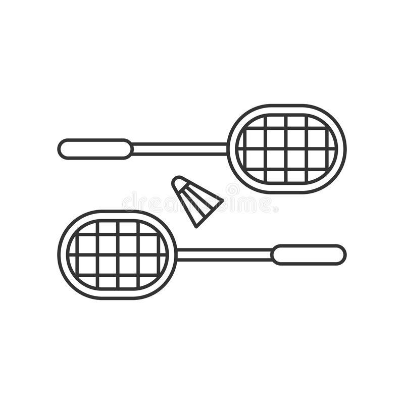 Black isolated outline icon of badminton rackets with shuttlecock on white background. Line Icon of badminton. stock illustration