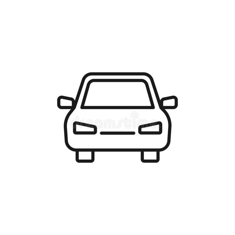 Black isolated outline icon of car on white background. Line Icon of automobile. Front view.  vector illustration
