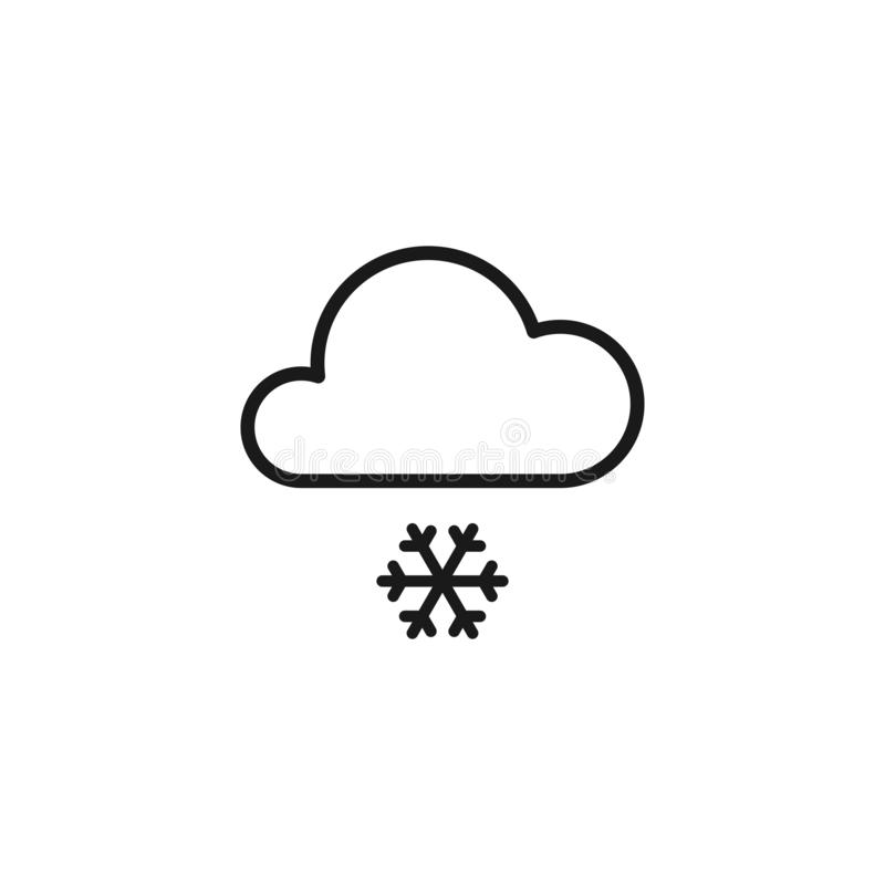 Black isolated outline icon of cloud with snow on white background. Line Icon of snowfall royalty free illustration