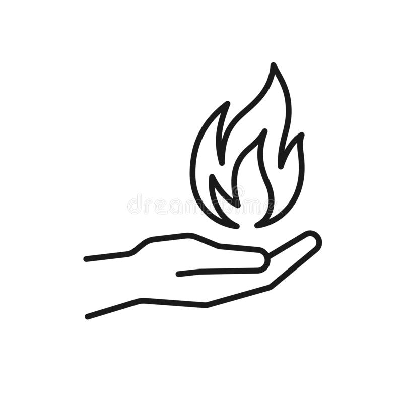 Black isolated outline icon of flame in hand on white background. Line icon of fire and hand. Symbol of healing royalty free illustration