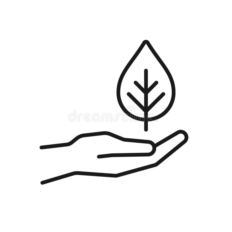 Black isolated outline icon of hand with leaf, plant on white background. Line Icon of hand with leaf, plant.  vector illustration