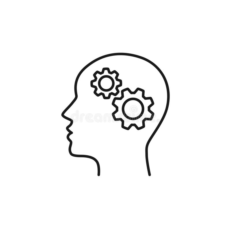 Black isolated outline icon of head of man and cogwheel on white background. Line icon of head and gear wheel stock illustration