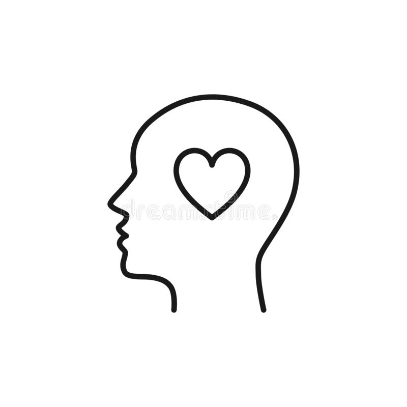 Black isolated outline icon of head of man and heart on white background. Line icon of head of man. Love think. Flat design.  vector illustration