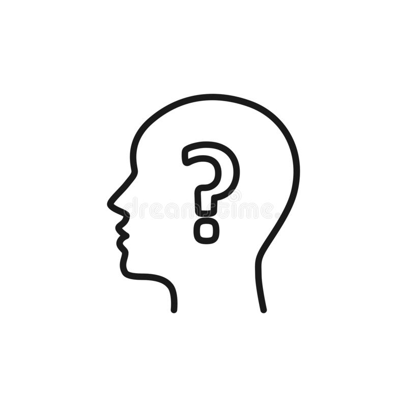Black isolated outline icon of head of man and question mark on white background. Line icon of head of man and question mark. royalty free illustration