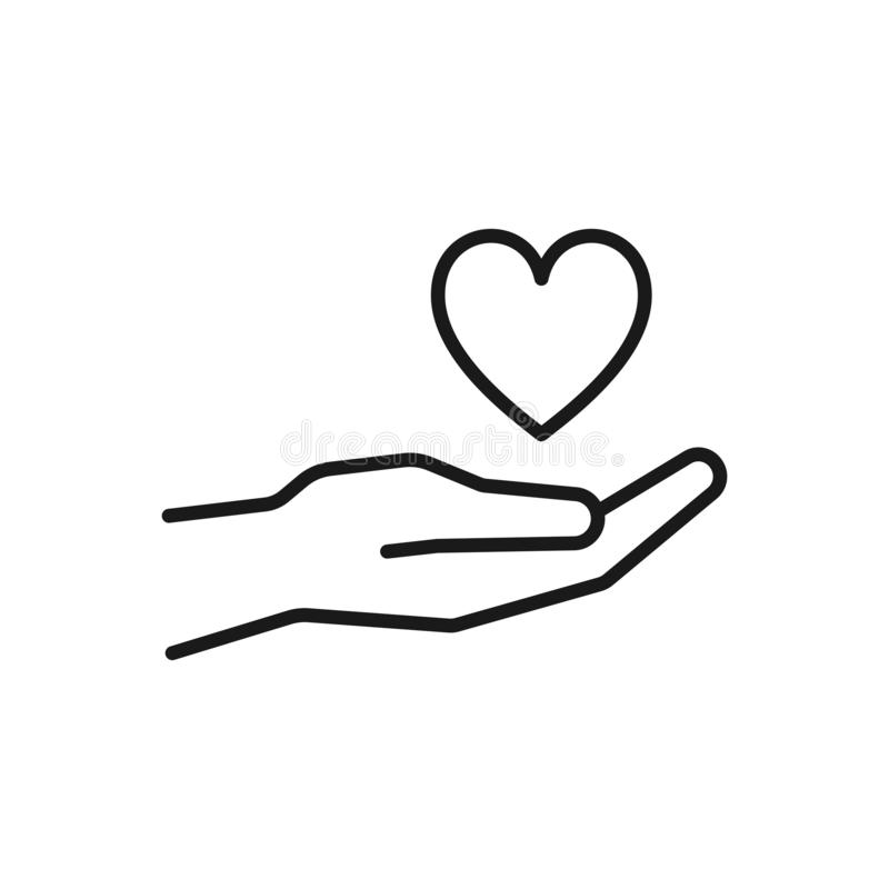 Black isolated outline icon of heart in hand on white background. Line Icon of heart and hand. Symbol of care, love, charity.  stock illustration