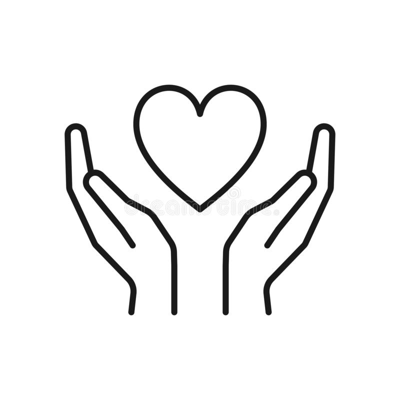 Black isolated outline icon of heart in hands on white background. Line icon of heart and hands. Symbol of care, love, charity.  stock illustration