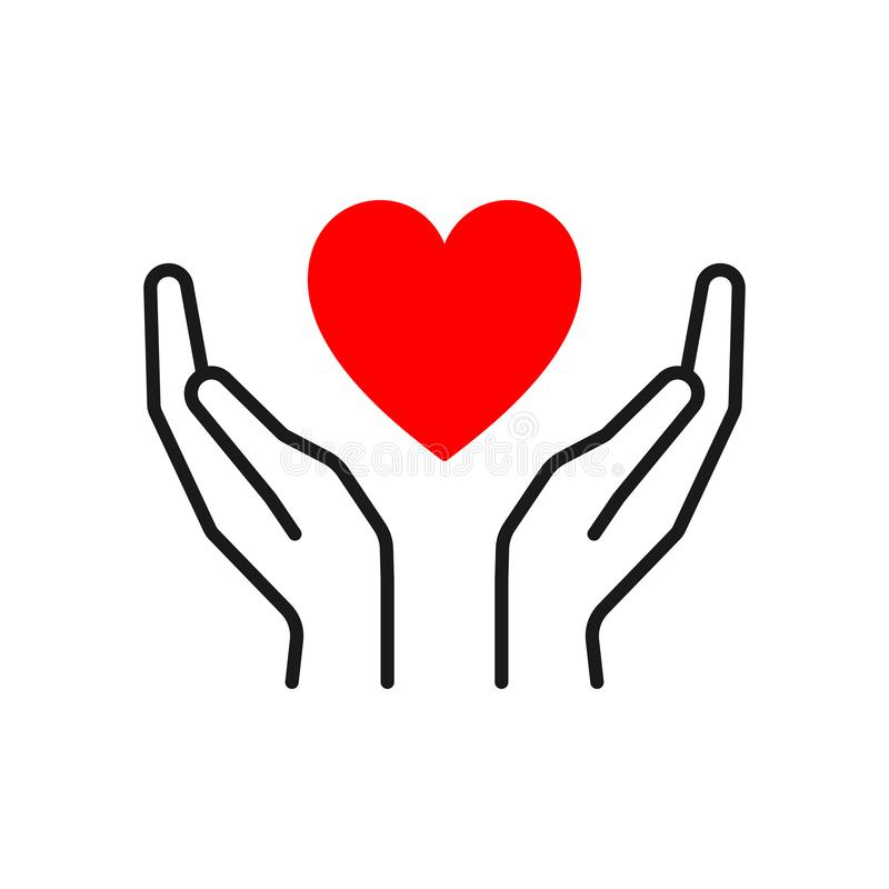 Black isolated outline icon of heart in hands on white background. Line icon of red heart and hands. Symbol of care, love, charity stock illustration