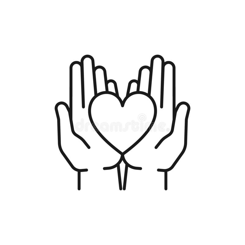 Black isolated outline icon of heart in hands on white background. Line icon of heart and two hands. Symbol of care, love, charity. / stock illustration