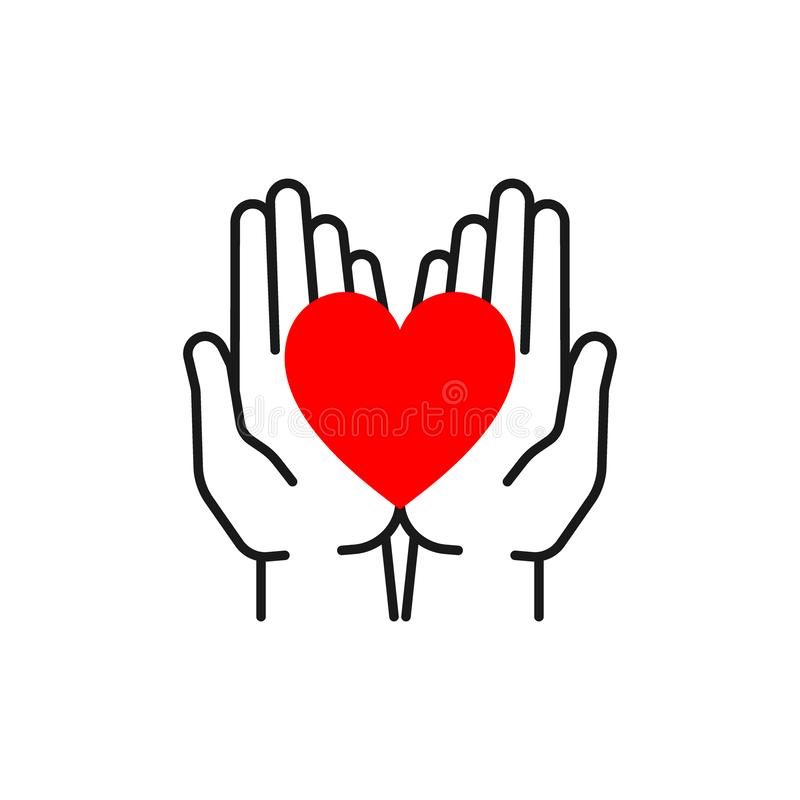 Black isolated outline icon of heart in open hands on white background. Line icon of red heart and hands. Symbol of care, love,. Charity royalty free illustration