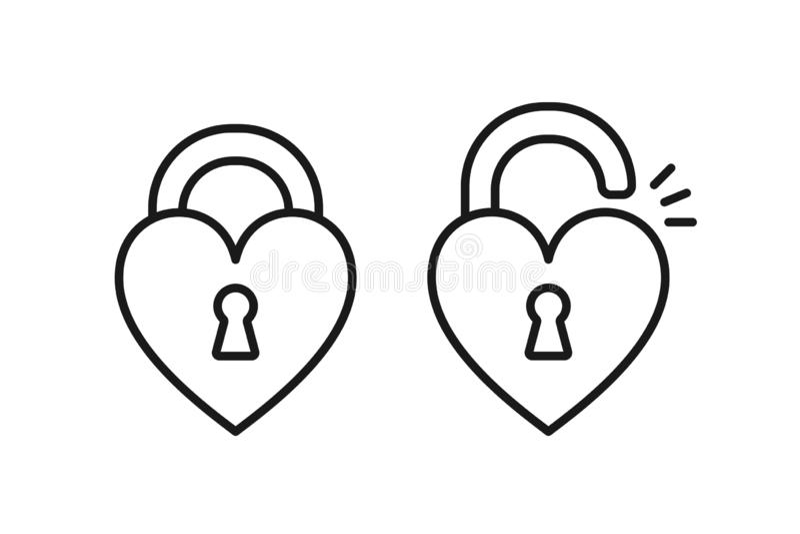 Black isolated outline icon of locked and unlocked heart shape lock on white background. Set of Line Icon of heart shape lock. royalty free illustration