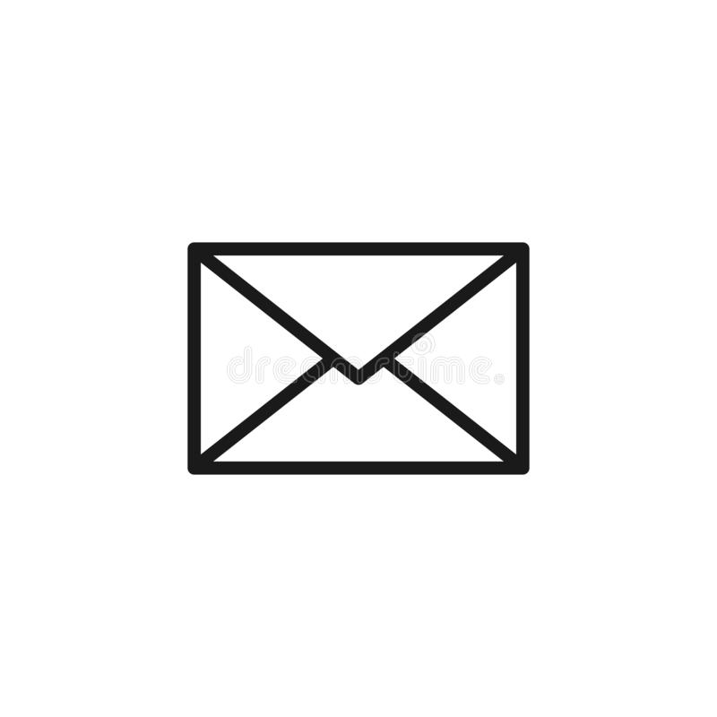 Black isolated outline icon of postal envelope on white background. Line Icon of envelope. Email, mail. vector illustration