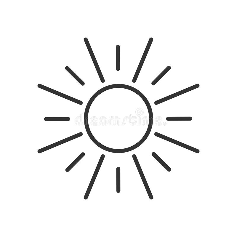 Black isolated outline icon of sun on white background. Line Icon of sun. Black isolated outline icon of sun on white background. Line Icon of sun stock illustration