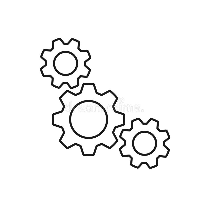 Black isolated outline icon of three cogwheels on white background. Line icon of gear wheel. Settings royalty free illustration