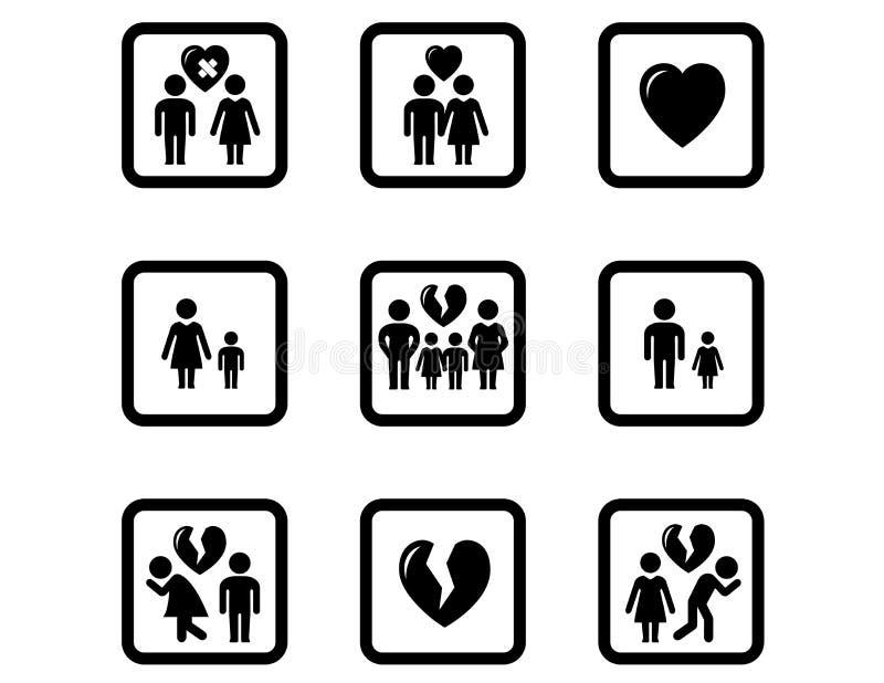 People divorce concept icons set vector illustration