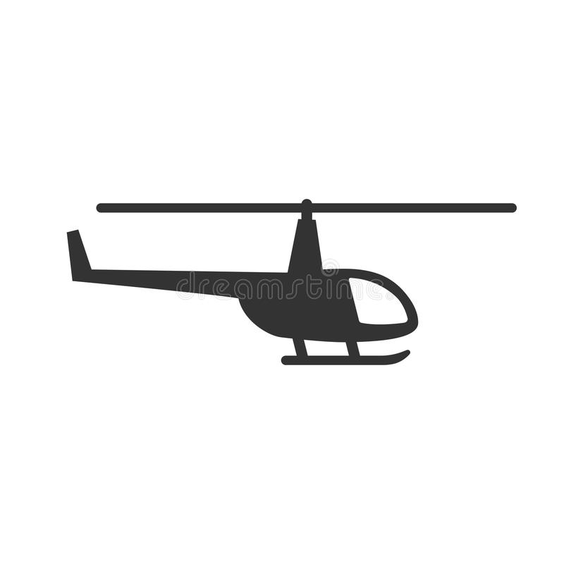 Black isolated silhouette of helicopter on white background. Icon of side view of helicopter. Black isolated silhouette of helicopter on white background. Icon vector illustration