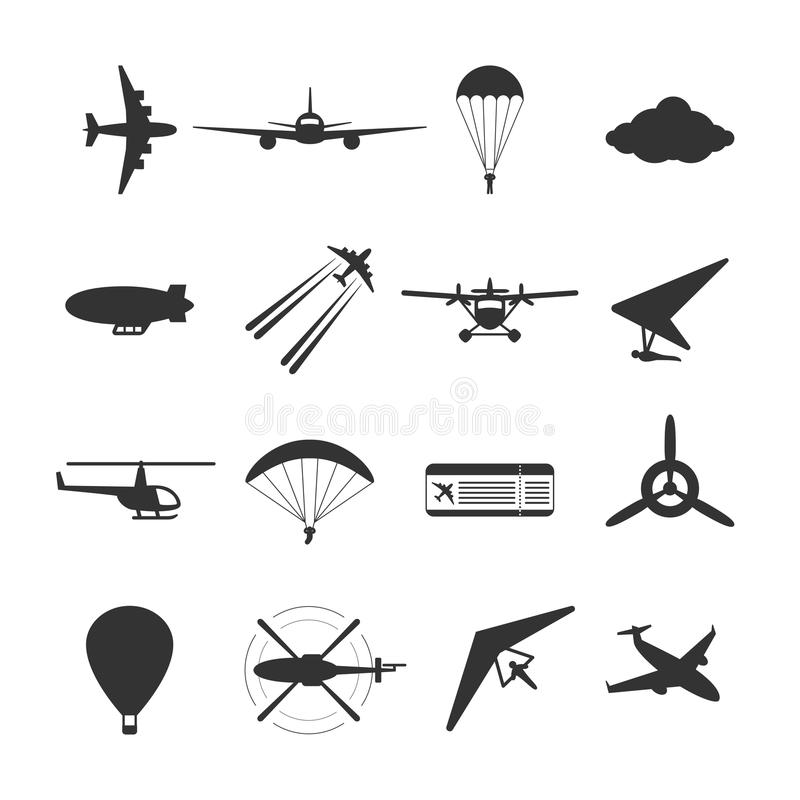Black isolated silhouette of hydroplane, airplane, parachute, helicopter, propeller, hang-glider, dirigible, paraglide, balloon. S. Black isolated silhouette of stock illustration