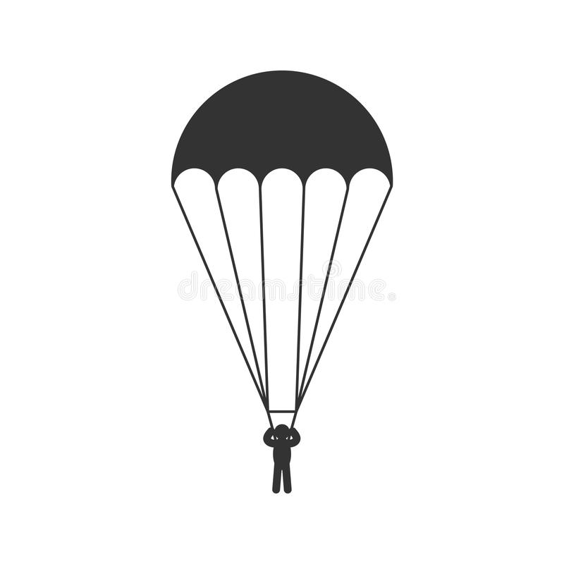 Free Black Isolated Silhouette Of Parachute On White Background. Icon Of Side View Of Parachutist. Stock Photos - 99201033