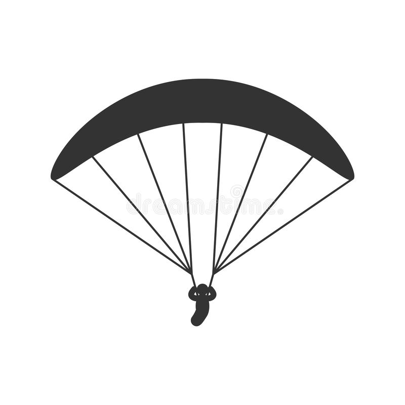 Free Black Isolated Silhouette Of Paraglider On White Background. Icon Of Side View Of Parachute. Royalty Free Stock Image - 99200786