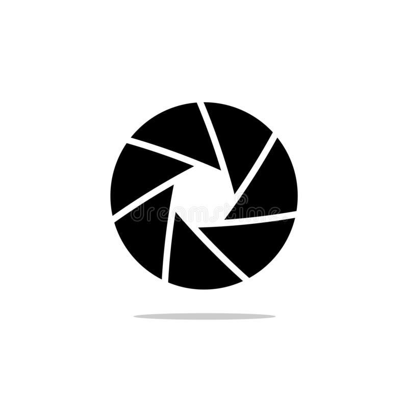 Black isolated symbol of camera lens shutter diaphragm aperture. royalty free illustration
